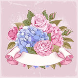 Luxueuze hydrangea hortensia en rozen Royalty-vrije Stock Fotografie