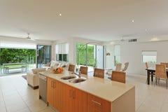 Luxueuze keuken en woonkamer royalty-vrije stock foto