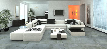 Luxueuze moderne woonkamer Stock Foto