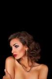 Luxueuze mooie donkerbruine vrouw Royalty-vrije Stock Foto's
