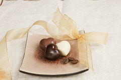 Luxueuze romantische chocoladevariatie. stock afbeeldingen