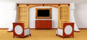 Luxueuze stoelen, dienst en frame met boekenkast stock illustratie