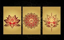 Luxueuze tatoegeringsuitrusting - Indische stijl - bloeiende lotusbloem Stock Afbeelding