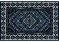 Luxueuze uitstekende oosterse deken in blauwe schaduwen met origineel patroon Stock Foto