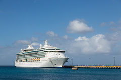 Luxur Cruise Ship at Pier on St Croix. White Luxury Cruise Ship Docked at St Croix Stock Photo