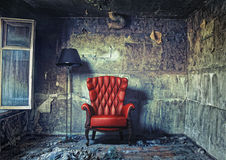 Luxure armchair. Luxury armchair in grunge interior (Photo compilation. Photo and hand-drawing elements combined Royalty Free Stock Photography