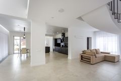 Luxure hall interior white loft flat apartments royalty free stock photography