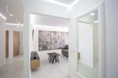 Luxure-Halleninnendachbodenebene im grauen Artentwurf mit Sofa und Tabelle stockfotos