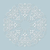 Luxure round ornamen. Victorian style. Ornamental floral white ornament  on a blue background Royalty Free Stock Photo