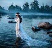 Luxuriöse Dame, im eleganten langen Kleid in der Mitte von See lizenzfreies stockbild