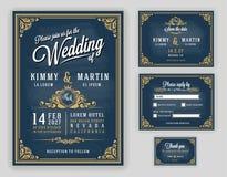 Luxuriöse Hochzeitseinladung der Weinlese auf Tafelhintergrund lizenzfreie abbildung