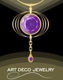 Luxuriöser Art- DecoAnhänger mit puprle Edelsteinamethyst auf Goldkette, Mode in der Victorianart, antikes Juwel stock abbildung
