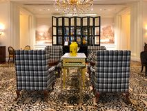 Luxuriöser Hotellobbyinnenraum von Ritz Carlton Tianjin China lizenzfreie stockfotos