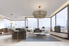 Luxuriöser Innenraum der zeitgenössischen Art des Wohnzimmers mit Fernseheinheit, Sofa, Lehnsesseln, Couchtisch und Speisetische  vektor abbildung