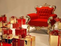 Luxuriöser Lehnsessel mit Geschenkkastendekoration stock abbildung