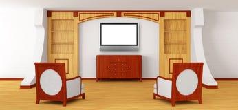 Luxuriöser Stuhl-, Büro- und lcd-Fernsehapparat mit Bücherschrank Lizenzfreie Stockfotografie