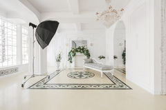 Luxuriöser Weinleseinnenraum des Fotostudios mit Kamin in der aristokratischen Art Stockbild