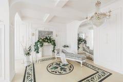 Luxuriöser Weinleseinnenraum mit Kamin in der aristokratischen Art Lizenzfreie Stockfotos
