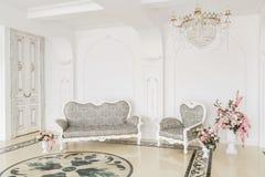 Luxuriöser Weinleseinnenraum mit Kamin in der aristokratischen Art Lizenzfreie Stockfotografie