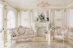 Luxuriöser Weinleseinnenraum mit Kamin in der aristokratischen Art Stockfotos