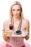 Luxuriöses Frauen- und Silbertellersegment Lizenzfreies Stockbild