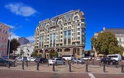 Luxuriöses Hotel interkontinental im besuchten Stadtteil, Kyiv, Ukraine Lizenzfreies Stockfoto