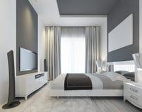 Luxuriöses Schlafzimmer Mit Einem Großen Fenster Lizenzfreie Stockbilder