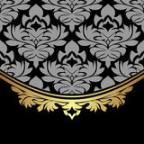 Luxuri damask Background with golden ornate Border Stock Images