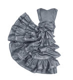 Luxuriant gray strapless dress in movement Royalty Free Stock Photo