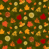 Luxuriant naadloos patroon met de herfstbladeren Stock Fotografie