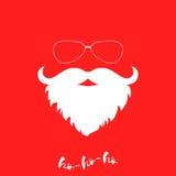 Luxuriant witte baard en zonnebril van de Kerstman Malplaatje voor de kaart van de Kerstmisgroet Het kan voor prestaties van het  Royalty-vrije Stock Foto's