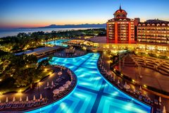 Luxurious all inclusive hotel on turkish Riviera, Antalya, Turke. Antalya, Turkey - October 15, 2017: Luxurious all inclusive Delphin Be Grand hotel on Royalty Free Stock Photos