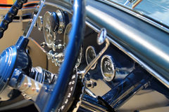 Luxurious antique french car interior detail stock photos