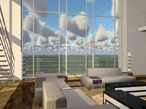 Luxurious apartment with high windows. Computer generated 3D illustration with luxurious apartment with high windows Stock Photo