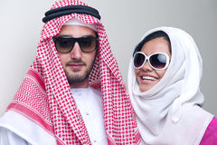 Luxurious arabian couple posing Royalty Free Stock Photography