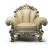 Luxurious armchair. Luxury armchair of beige colour, with a silver decor. 3d image. Isolated white background Stock Photography