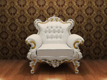 Luxurious armchair with decoration frame. In old styled interior Stock Illustration
