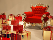 Luxurious armchair with gift box decoration Royalty Free Stock Image