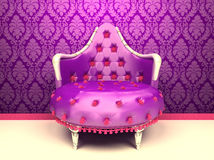 Luxurious armchair isolated on wallpaper. With ornament in royal interior Stock Illustration