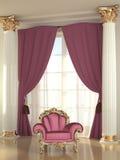 Luxurious armchair in royal interior Stock Photos