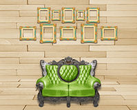 Luxurious armchair and vintage frame Royalty Free Stock Photos