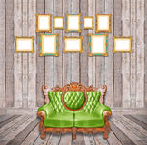 Luxurious armchair and vintage frame Royalty Free Stock Photography