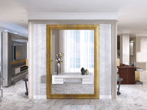 Luxurious Art-Deco entrance hall with a large designer mirror. Royalty Free Stock Photography
