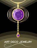 Luxurious art deco pendant with puprle gems amethyst on gold chain, fashion in victorian style, antique jewel. Luxurious art deco pendant with green gems emerald Stock Photography