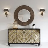Luxurious art deco style dresser with gilded facade and patina. Round mirror over the chest and sconce. 3D rendering stock illustration