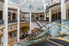 Luxurious art deco style shopping mall near the Friedrichstrasse in Berlin. BERLIN, GERMANY - JULY 24: Luxurious art deco style shopping mall near the royalty free stock photos