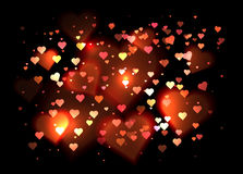 Luxurious background  with hearts and bokeh sparkles. Vector background for your creativity Stock Photo