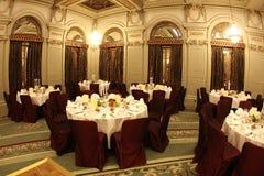 Luxurious ballroom. Elegant tables in a luxurious ballroom Royalty Free Stock Image