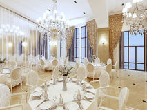 Luxurious ballroom, with white tables and large Windows. Stock Photos