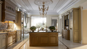 Luxurious baroque kitchen and dining room Stock Photos